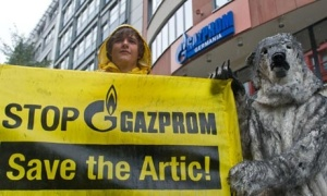 Greenpeace protests Russia's arrest of activists: Stop Gazprom; Save the Artic [sic]